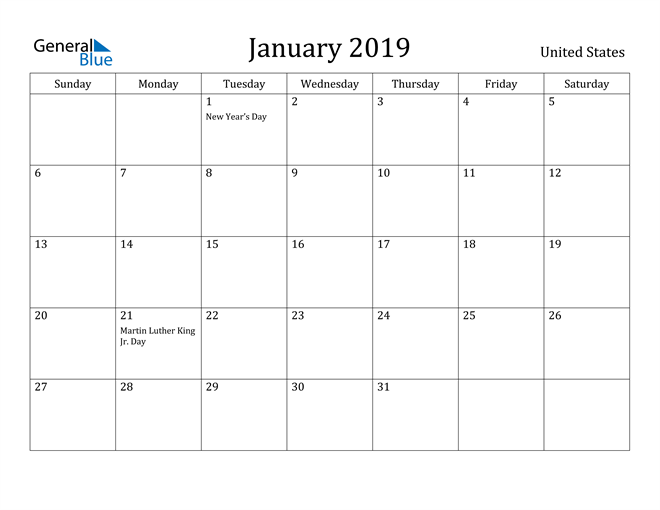 Image of January 2019 United States Calendar with Holidays Calendar