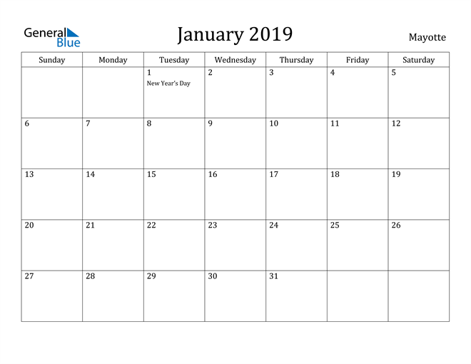 Image of January 2019 Mayotte Calendar with Holidays Calendar