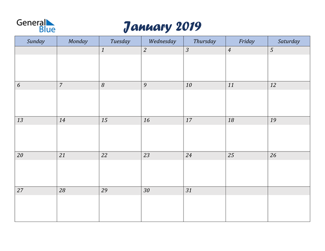 Image of January 2019 Italicized and Cool Blue, A Fun Calendar in PDF, Word and Excel Calendar
