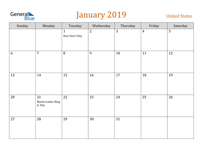 Image of January 2019 Contemporary Orange PDF, Word and Excel Calendar Calendar
