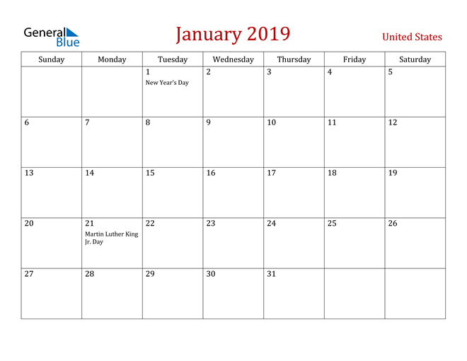 Image of January 2019 Dark and Red Professional Office Calendar Calendar