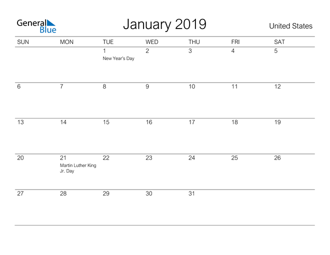 Image of January 2019 A Streamlined Design, The Perfect Printable Calendar. Calendar