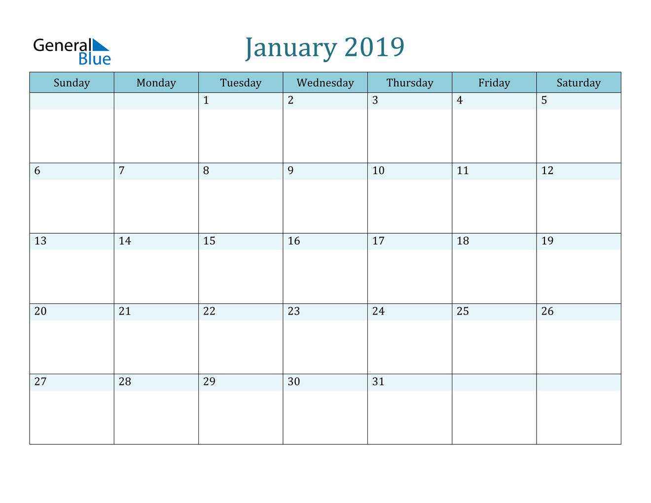 Image of January 2019 Colorful Turquoise Calendar in PDF, Word and Excel Calendar