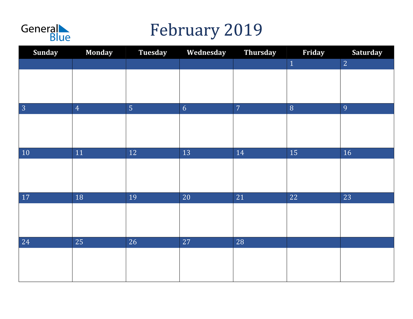 Image of February 2019 Stylish Dark Blue Calendar in PDF, Word and Excel Calendar