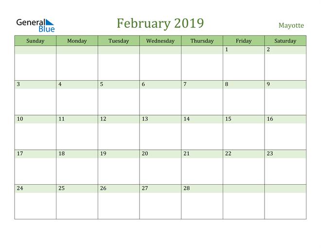 Image of February 2019 Cool and Relaxing Green Calendar Calendar