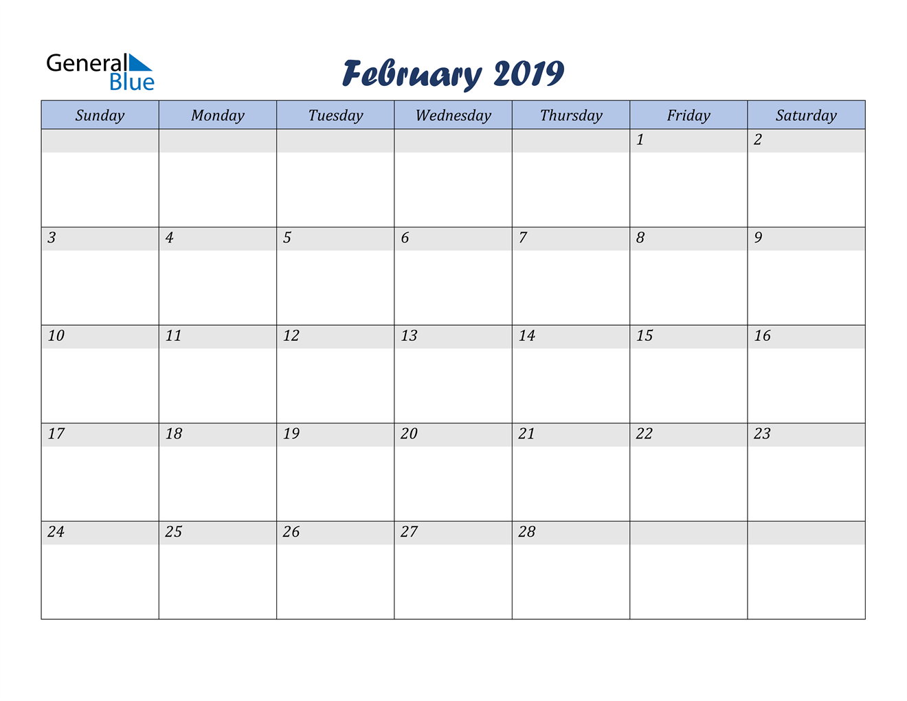 Image of February 2019 Italicized and Cool Blue, A Fun Calendar in PDF, Word and Excel Calendar