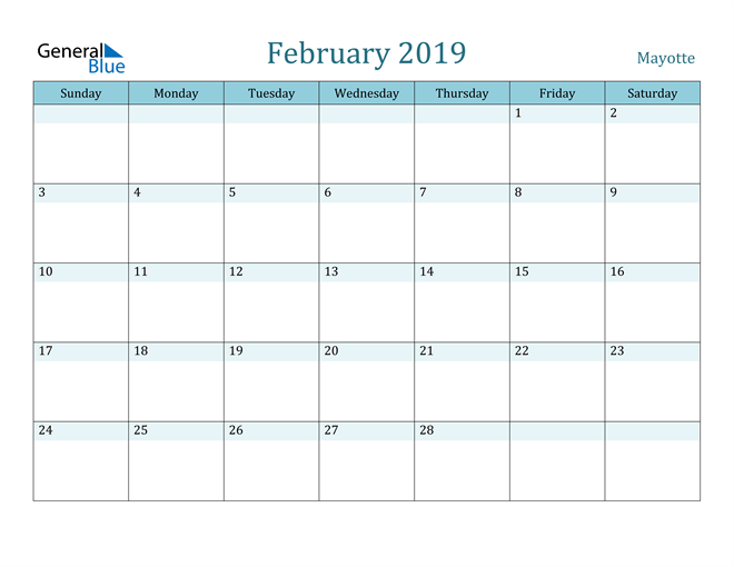 Image of February 2019 Colorful Turquoise Calendar in PDF, Word and Excel Calendar