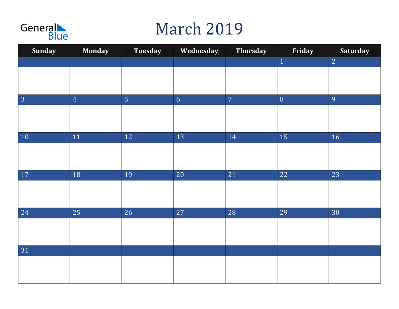 Image of March 2019 Stylish Dark Blue Calendar in PDF, Word and Excel Calendar