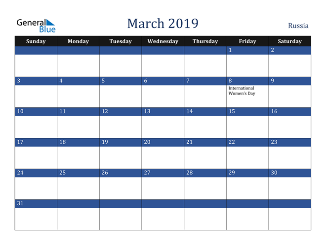 Image of March 2019 Stylish Dark Blue Calendar in PDF, Word and Excel Calendar