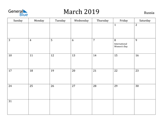 Image of March 2019 Russia Calendar with Holidays Calendar