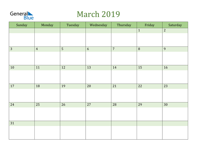 Image of March 2019 Cool and Relaxing Green Calendar Calendar