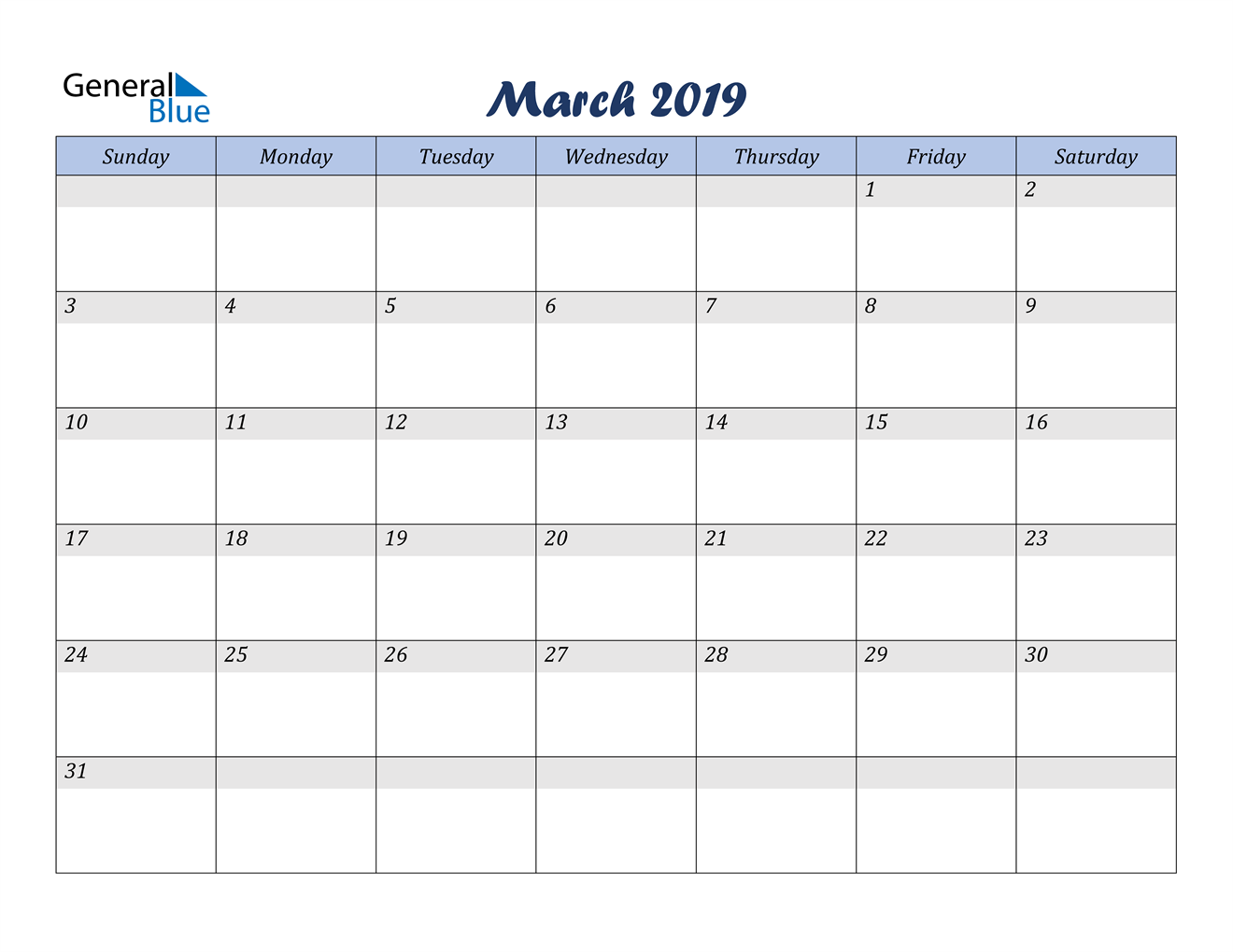 Image of March 2019 Italicized and Cool Blue, A Fun Calendar in PDF, Word and Excel Calendar