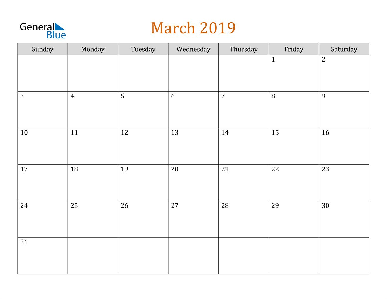 Image of March 2019 Contemporary Orange PDF, Word and Excel Calendar Calendar