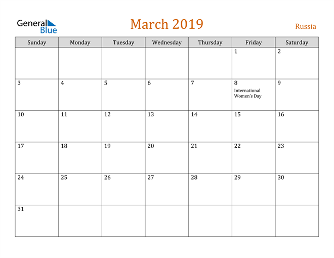 Image of March 2019 Contemporary Orange PDF, Word and Excel Calendar Calendar