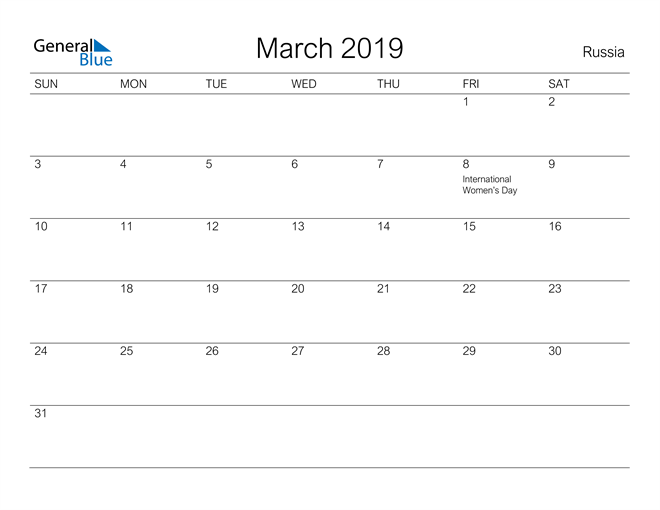 Image of March 2019 A Streamlined Design, The Perfect Printable Calendar. Calendar