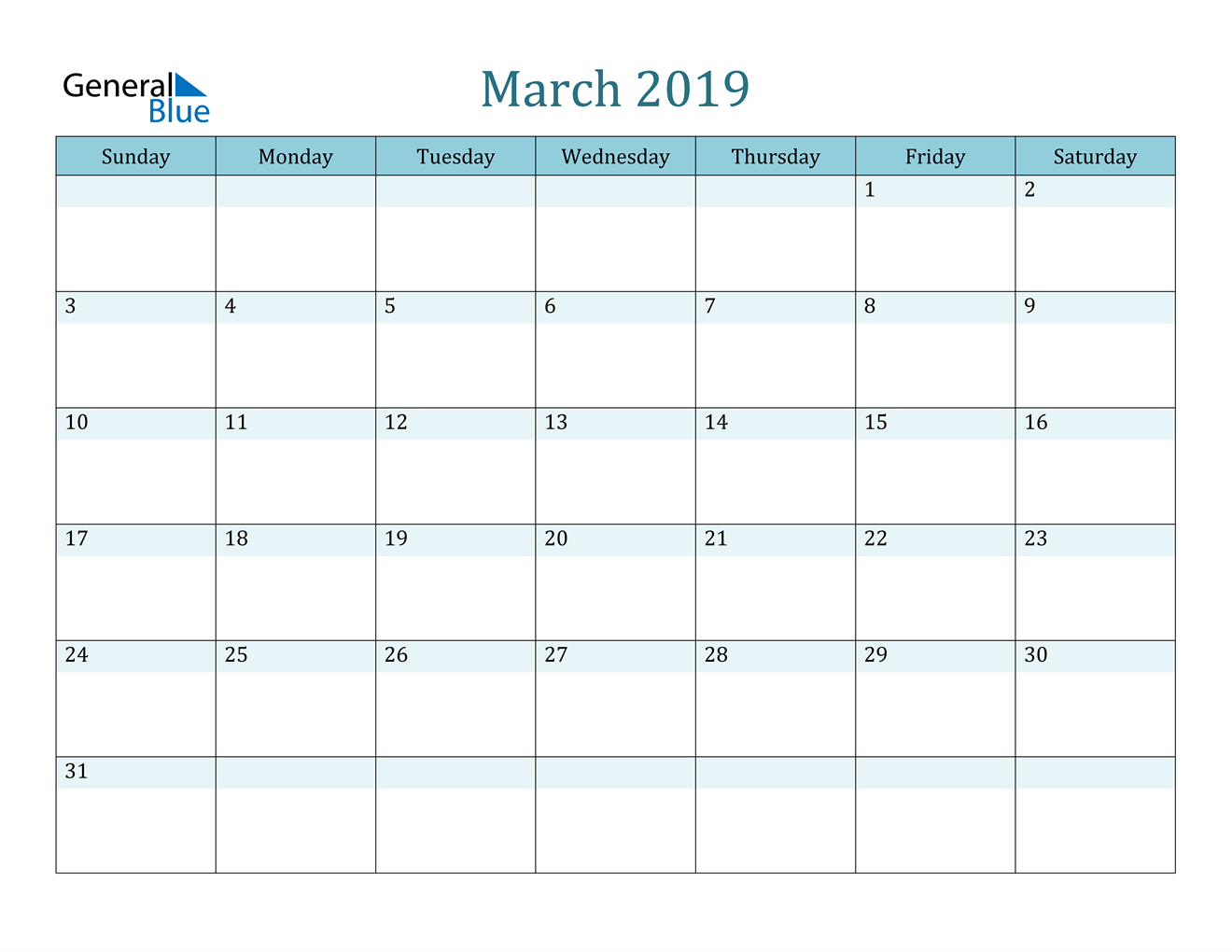 Image of March 2019 Colorful Turquoise Calendar in PDF, Word and Excel Calendar