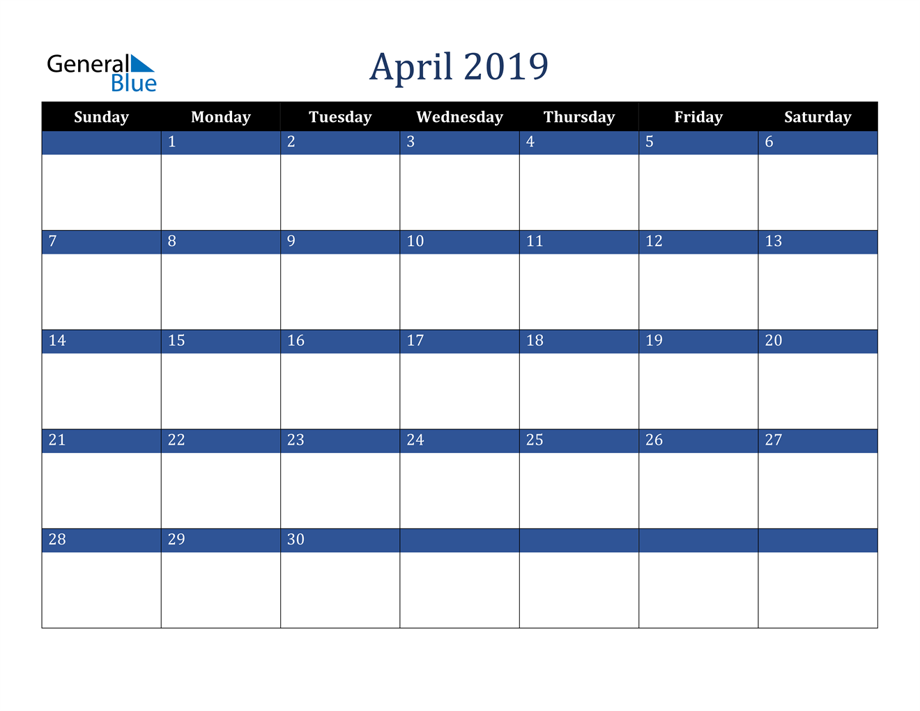 Image of April 2019 Stylish Dark Blue Calendar in PDF, Word and Excel Calendar