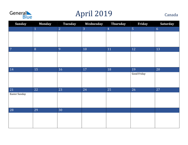 Image of April 2019 Stylish Dark Blue Calendar in PDF, Word and Excel Calendar