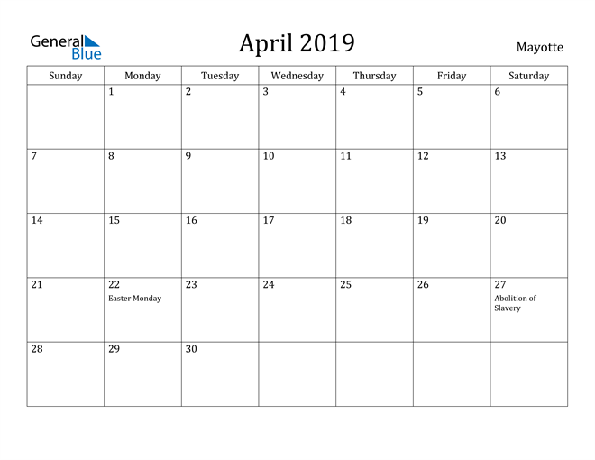 Image of April 2019 Mayotte Calendar with Holidays Calendar