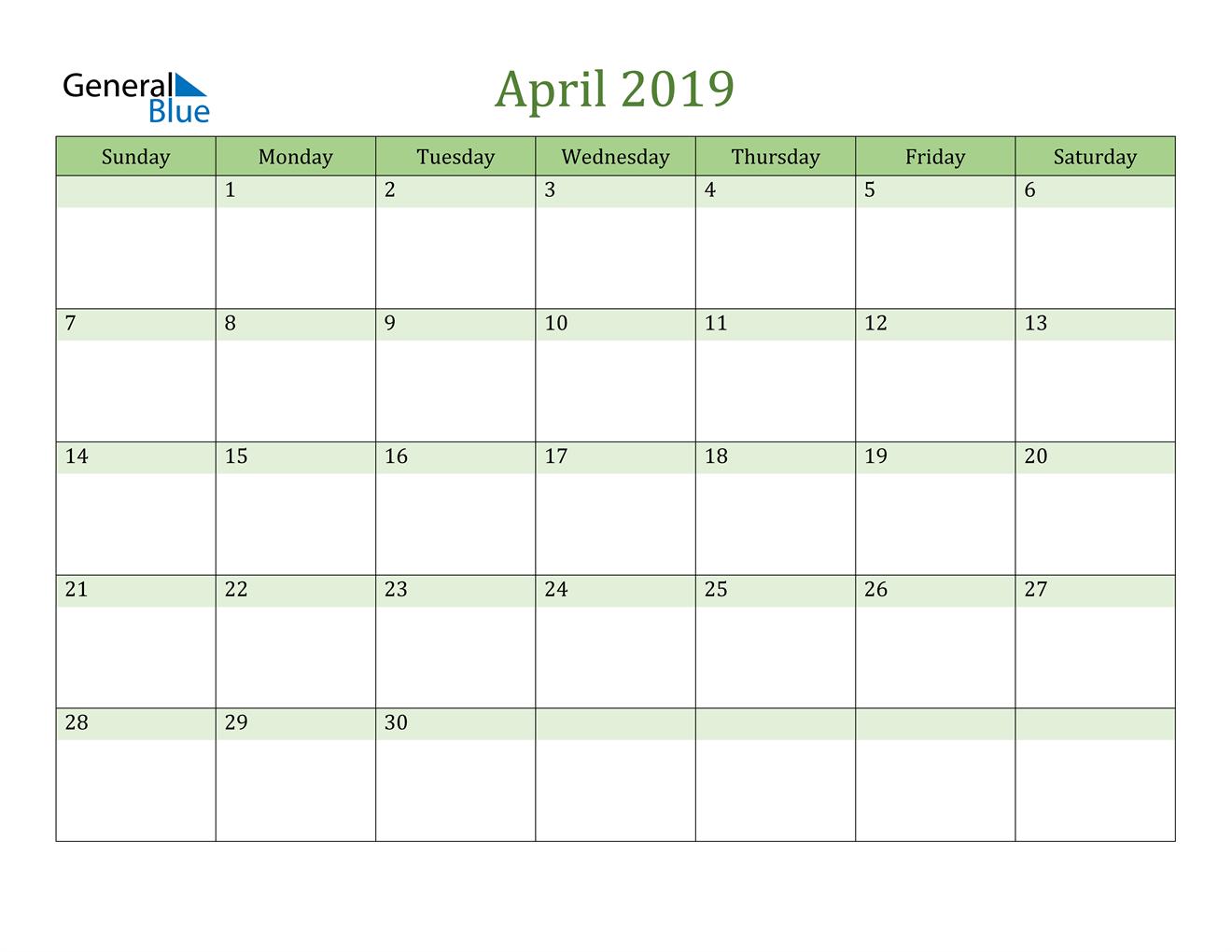 Image of April 2019 Cool and Relaxing Green Calendar Calendar