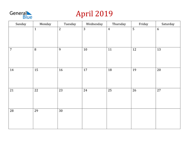Image of April 2019 Dark and Red Professional Office Calendar Calendar