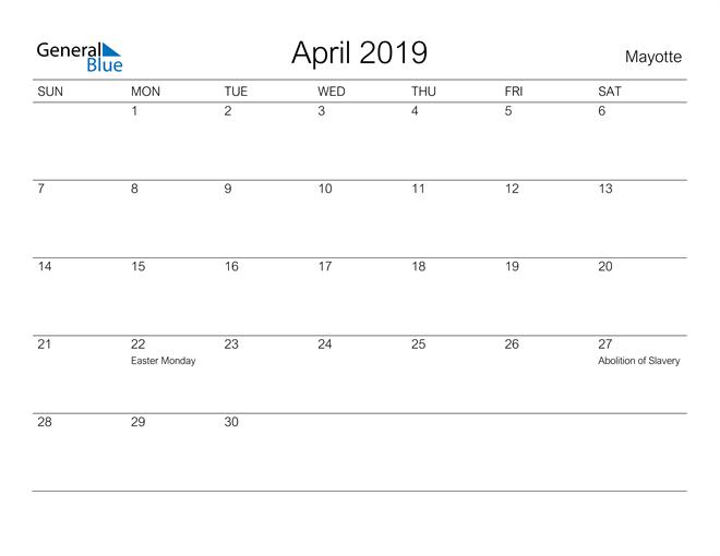 Image of April 2019 A Streamlined Design, The Perfect Printable Calendar. Calendar