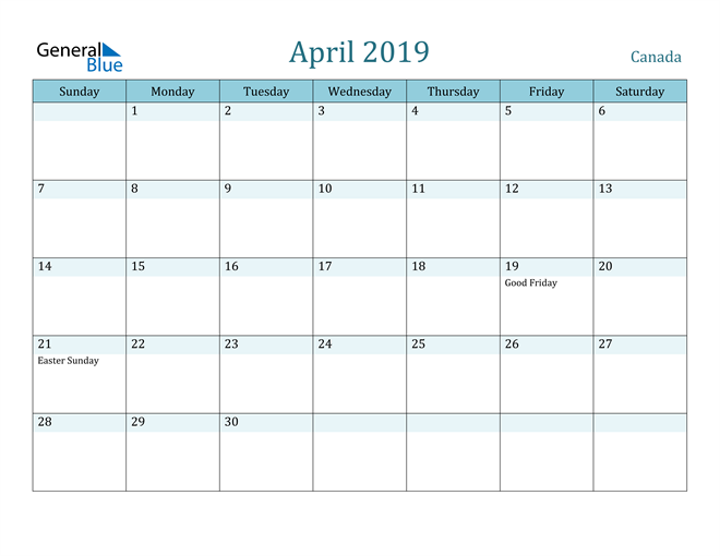 Image of April 2019 Colorful Turquoise Calendar in PDF, Word and Excel Calendar