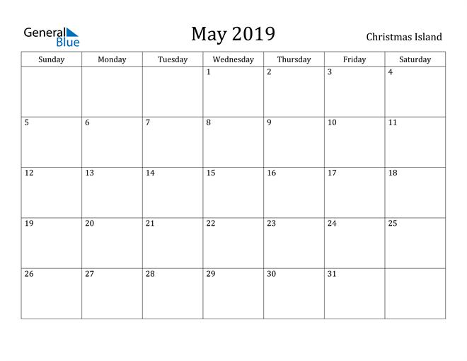 Image of May 2019 Christmas Island Calendar with Holidays Calendar