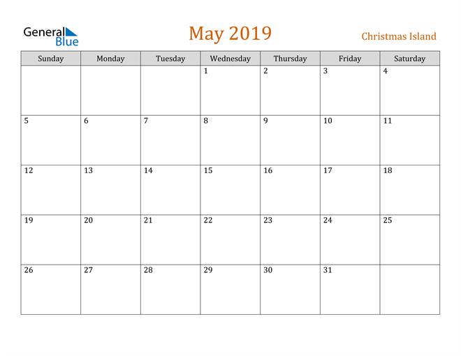 Image of May 2019 Contemporary Orange PDF, Word and Excel Calendar Calendar