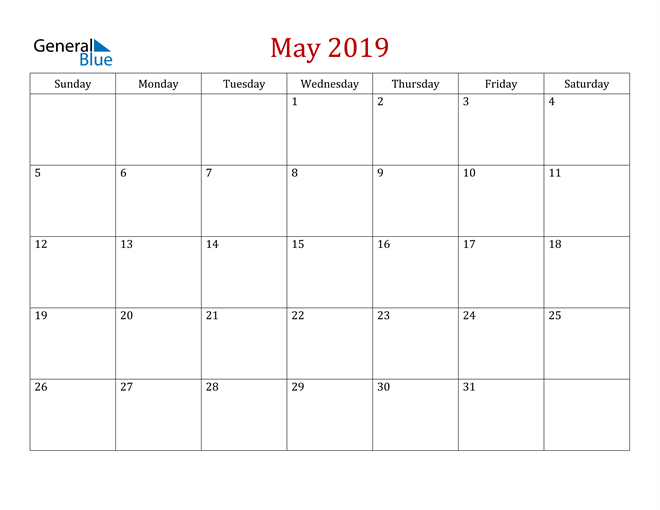 Image of May 2019 Dark and Red Professional Office Calendar Calendar