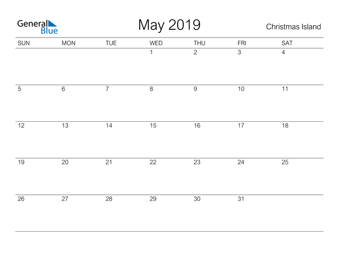 Image of May 2019 A Streamlined Design, The Perfect Printable Calendar. Calendar