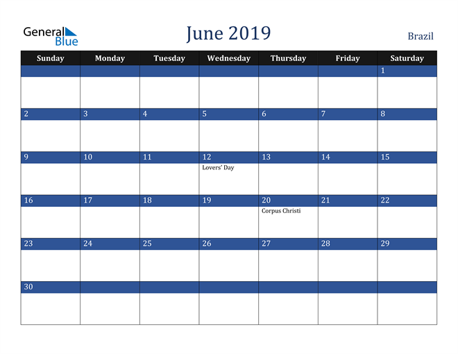 Image of June 2019 Stylish Dark Blue Calendar in PDF, Word and Excel Calendar