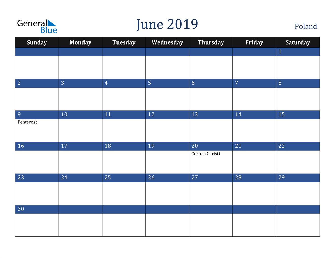 Image of June 2019 Stylish Dark Blue Calendar in PDF, Word and Excel Calendar