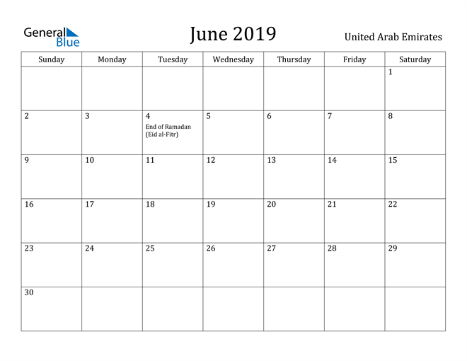 Image of June 2019 United Arab Emirates Calendar with Holidays Calendar