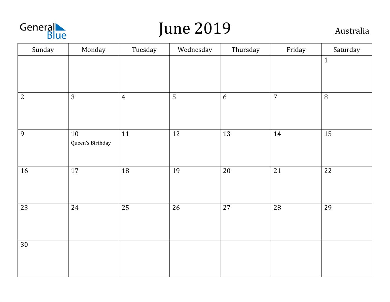 Image of June 2019 Australia Calendar with Holidays Calendar
