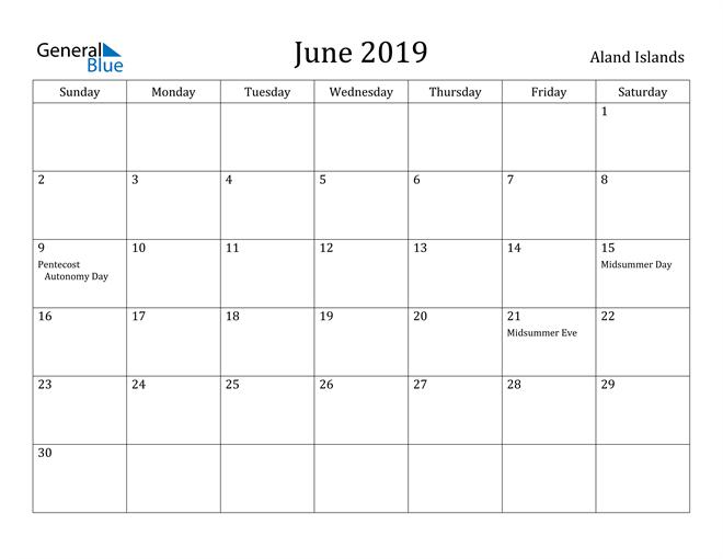 Image of June 2019 Aland Islands Calendar with Holidays Calendar
