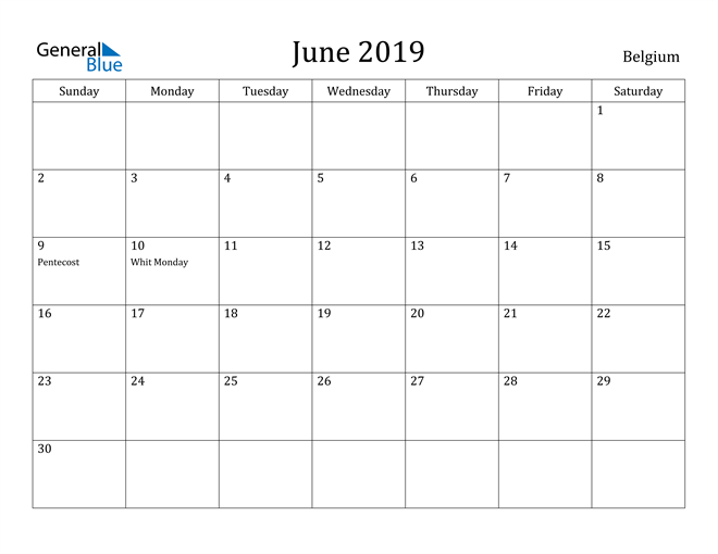 Image of June 2019 Belgium Calendar with Holidays Calendar