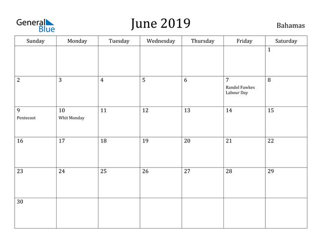 Image of June 2019 Bahamas Calendar with Holidays Calendar