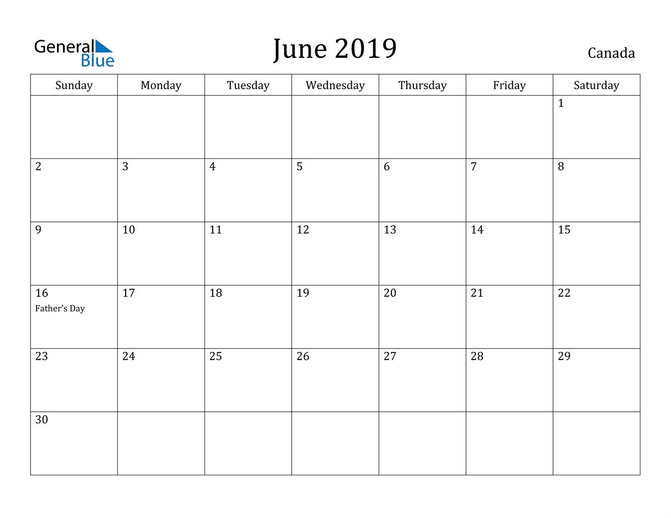 Image of June 2019 Canada Calendar with Holidays Calendar