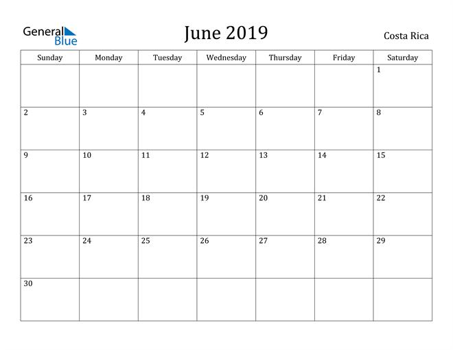 Image of June 2019 Costa Rica Calendar with Holidays Calendar