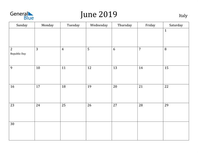 Image of June 2019 Italy Calendar with Holidays Calendar