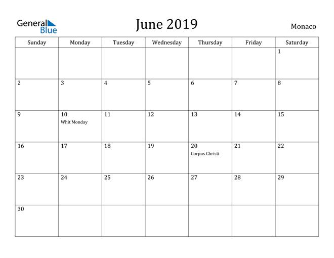 Image of June 2019 Monaco Calendar with Holidays Calendar