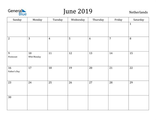 Image of June 2019 Netherlands Calendar with Holidays Calendar