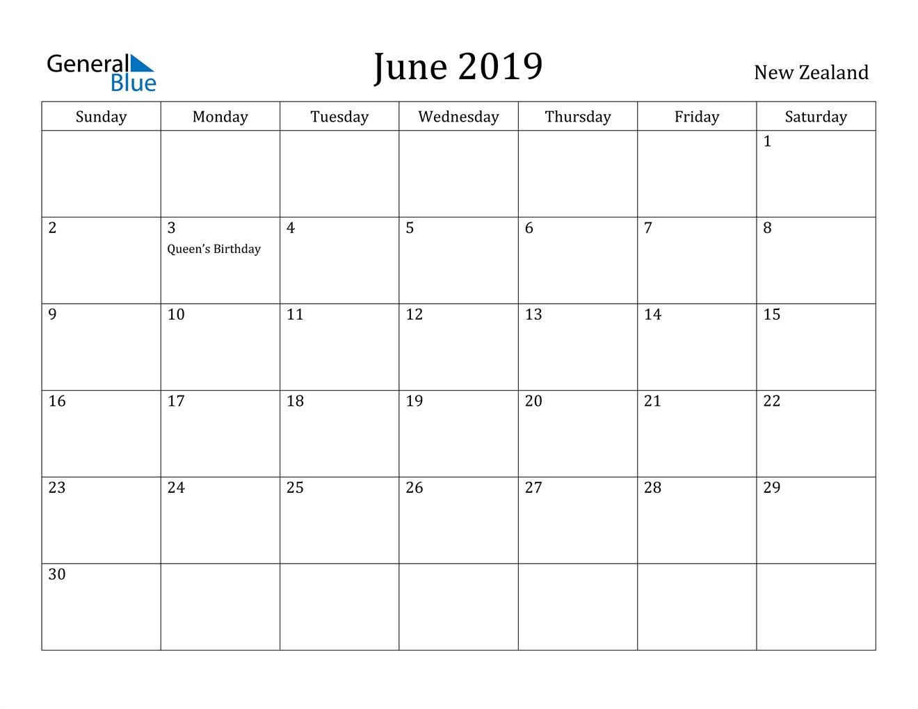 Image of June 2019 New Zealand Calendar with Holidays Calendar