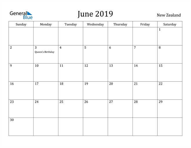 Image of June 2019 New Zealand Calendar with Holidays Calendar