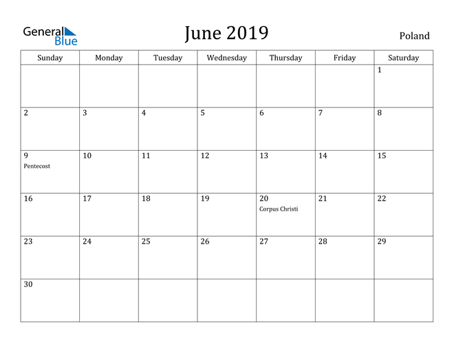 Image of June 2019 Poland Calendar with Holidays Calendar