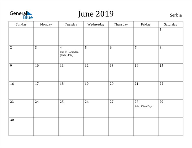 Image of June 2019 Serbia Calendar with Holidays Calendar