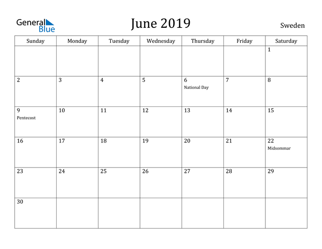 Image of June 2019 Sweden Calendar with Holidays Calendar