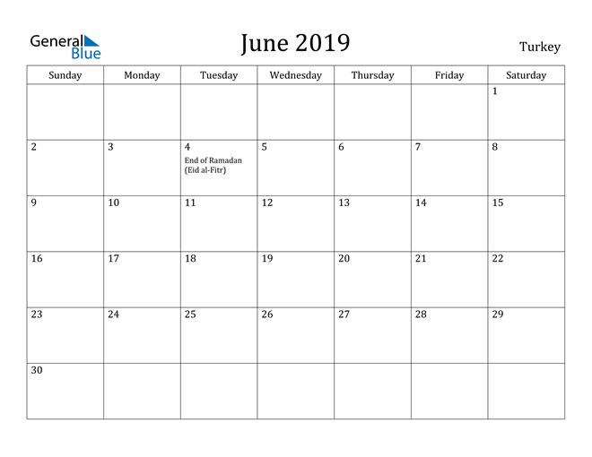Image of June 2019 Turkey Calendar with Holidays Calendar