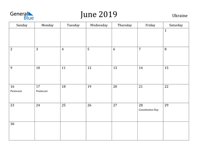 Image of June 2019 Ukraine Calendar with Holidays Calendar
